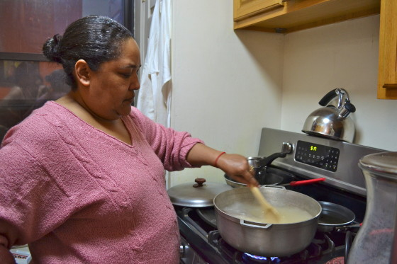 lidia stirring water (step 1)